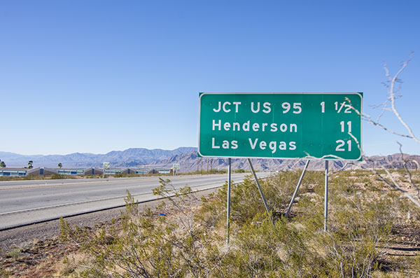 Las Vegas sign on the side of highway,Nevada